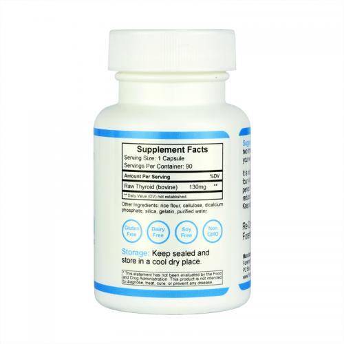 Raw Desiccated Thyroid Glandular 130mg right label
