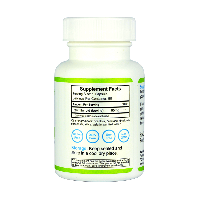 Raw Desiccated Thyroid Glandular 65mg right label